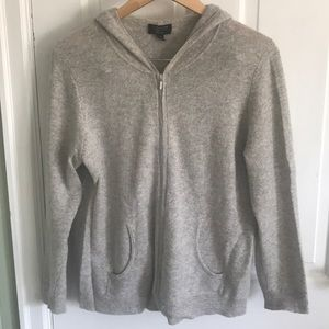 Light gray zip up hooded cashmere sweater